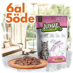 Jungle - Jungle Pouch Junior Tavuklu Yaş Yavru Kedi Maması 100 Gr - 6 Al 5 Öde