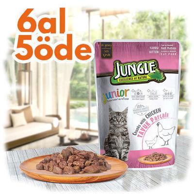 Jungle Pouch Junior Tavuklu Yaş Yavru Kedi Maması 100 Gr - 6 Al 5 Öde