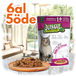 Jungle - Jungle Pouch Sterilised Biftekli Yaş Kısırlaştırılmış Kedi Maması 100 Gr - 6 Al 5 Öde