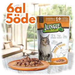 Jungle - Jungle Pouch Sterilised Tavuklu Yaş Kısırlaştırılmış Kedi Maması 100 Gr - 6 Al 5 Öde