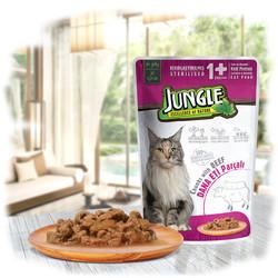 Jungle - Jungle Pouch Sterilised Biftekli Yaş Kısırlaştırılmış Kedi Maması 100 Gr