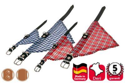 Karlie 02276 Kumaş Bandanalı Deri Köpek Tasması Kırmızı Small 37 CM