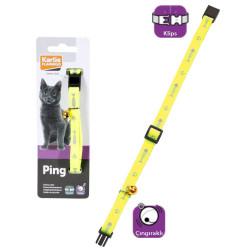 Karlie - Karlie 1031349 Balık ve Pati Desenli Çıngıraklı Sarı Kedi Boyun Tasması