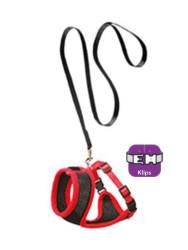 Karlie - Karlie 1031364 Kırmızı ve Siyah Medium Kedi Göğüs Tasması+Uzatma