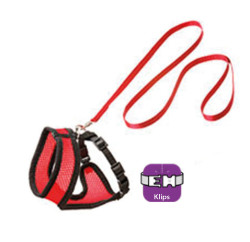 Karlie - Karlie 1031365 Siyah ve Kırmızı Medium Kedi Göğüs Tasması+Uzatma