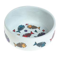 Karlie - Karlie 506150 Porselen Kılçık Desenli Kedi Yaş ve Kuru Mama Kabı 11,5 Cm