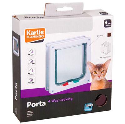 Karlie 507515 Kilitli 4 Yönlü Kedi ve Köpek Kapısı 19,2x20 Cm (Kahverengi)