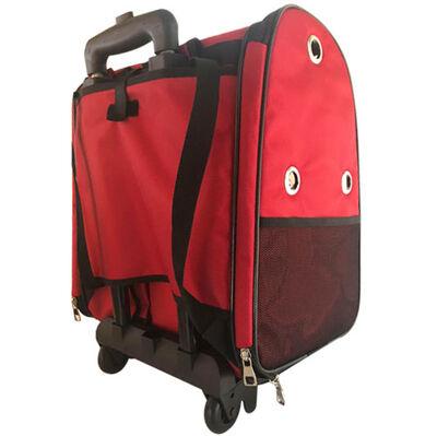 Kedi ve Köpek Çekçekli Sırt ve Tekerlekli Taşıma Çantası 40 x 37 x 27 Cm ( Kırmızı )