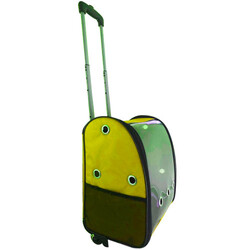 Diğer / Other - Kedi ve Köpek Çekçekli Sırt ve Tekerlekli Taşıma Çantası 40 x 37 x 27 Cm ( Sarı )