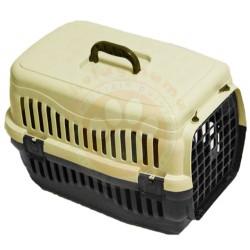 Pet Master - Pet Master Kedi ve Köpek Plastik Taşıma Kafesi Açık Kahve (50x32x31 Cm)