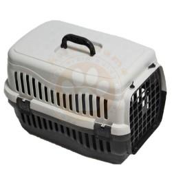 Pet Master - Pet Master Kedi ve Köpek Plastik Taşıma Kafesi Gri (50x32x31 Cm)