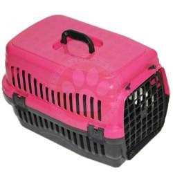 Pet Master - Pet Master Kedi ve Köpek Plastik Taşıma Kafesi Pembe (50x32x31 Cm)