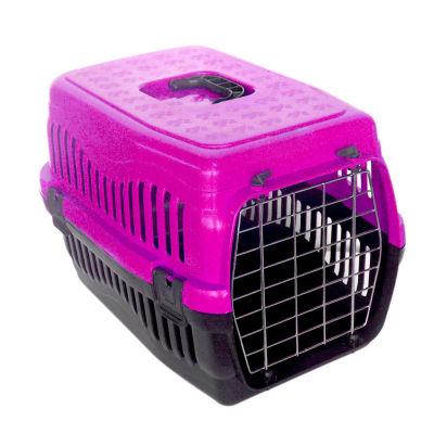 Kedi ve Küçük Irk Köpek Metal Kapılı Taşıma Kafesi Fuşya (48,5 x 32 x 32 Cm)