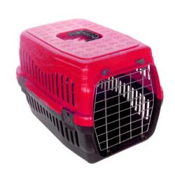 Diğer / Other - Kedi ve Küçük Irk Köpek Metal Kapılı Taşıma Kafesi Kırmızı (48,5x32x32 Cm)
