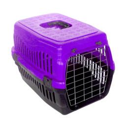 Diğer / Other - Kedi ve Küçük Irk Köpek Metal Kapılı Taşıma Kafesi Mor (48,5 x 32 x 32 Cm)