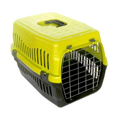 Kedi ve Küçük Irk Köpek Metal Kapılı Taşıma Kafesi Sarı (48,5 x 32 x 32 Cm)