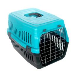 Diğer / Other - Kedi ve Küçük Irk Köpek Metal Kapılı Taşıma Kafesi Turkuaz (48,5 x 32 x 32 Cm)