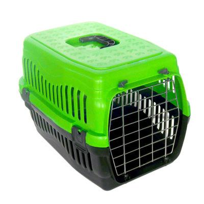 Kedi ve Küçük Irk Köpek Metal Kapılı Taşıma Kafesi Yeşil (48,5 x 32 x 32 Cm)
