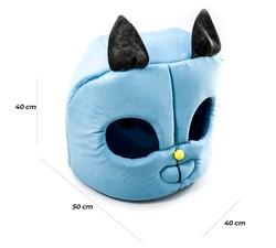 Küçük Irk Köpek ve Kedi 3 Fonksiyonlu Kumaş Mavi Kafa Yatak 50 x 40 x 40 Cm - Thumbnail