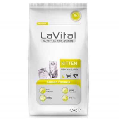 La Vital Kitten Somonlu Yavru Kedi Maması 1,5 Kg+5 Adet Temizlik Mendili
