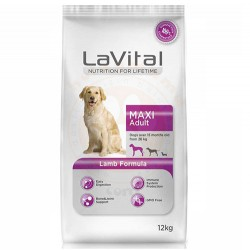 La Vital - La Vital Kuzu Etli Maxi Büyük Irk Köpek Maması 12 Kg+10 Adet Temizlik Mendili