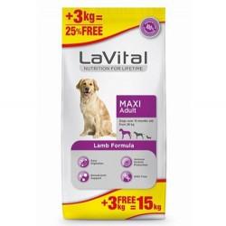 La Vital - La Vital Kuzu Etli Maxi Büyük Irk Köpek Maması 12+3 Kg+10 Adet Temizlik Mendili