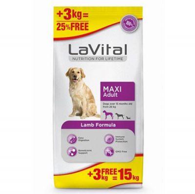 La Vital Kuzu Etli Maxi Büyük Irk Köpek Maması 12+3 Kg+10 Adet Temizlik Mendili