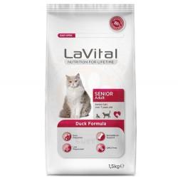 La Vital - La Vital Senior Duck Ördek Etli Yaşlı Kedi Maması 1,5 Kg + 100 Gr Yaş Mama