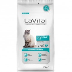 La Vital - La Vital Sensitive Somonlu Hassas Kedi Maması 1,5 Kg + 5 Adet Temizlik Mendili