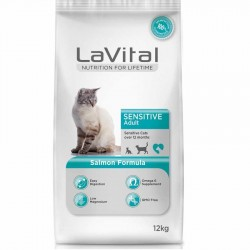 La Vital - La Vital Sensitive Hassas Kedi Maması 12 Kg+10 Adet Temizlik Mendili