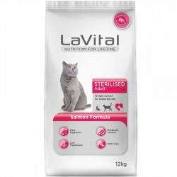 La Vital - La Vital Somonlu Sterilised Kedi Maması 12 Kg + 10 Adet Temizlik Mendili