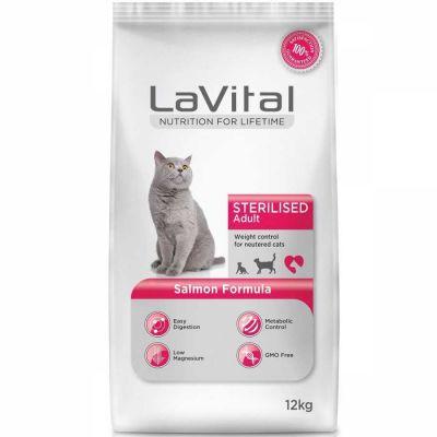 La Vital Somonlu Sterilised Kedi Maması 12 Kg + 10 Adet Temizlik Mendili