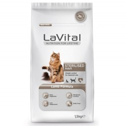 La Vital - La Vital Sterilised Kuzu Etli Kısırlaştırılmış Kedi Maması 1,5 Kg + 100 Gr Yaş Mama