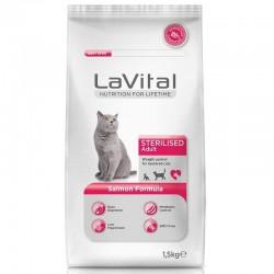 La Vital - La Vital Somonlu Kısırlaştırılmış Kedi Maması 1,5 Kg+100 Gr Yaş Mama