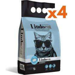 Lindo Cat - LindoCat Hijyenik Topaklaşan Sabunlu İnce Taneli Kedi Kumu 5 Lt-(1 Kolix4 Adet)