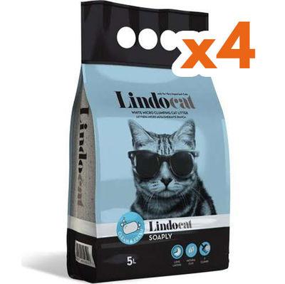 LindoCat Hijyenik Topaklaşan Sabunlu İnce Taneli Kedi Kumu 5 Lt-(1 Kolix4 Adet)