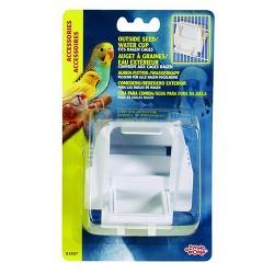 Living World - Living World 81897 Beyaz Plastik Kuş Yemi Kabı