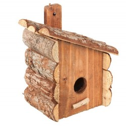 Loofah - Loofah LB256 Doğal Ahşap Kuş Yuvası 15x25 Cm