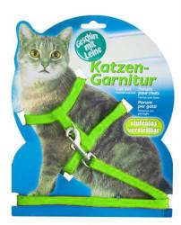 Maxi Life - Maxi Life Katzen Yeşil Kedi Tasma Seti (Göğüs+Uzatma)