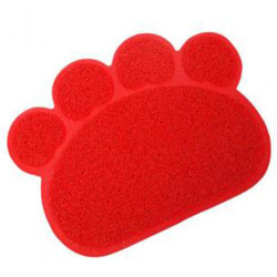 Maxi Life - Maxi Life Tuvalet Kabı Önü Pati Figürlü Kedi Paspası (Kırmızı) 60x45 Cm