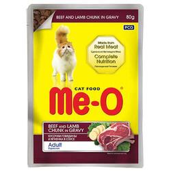 Me-O - Me-O Biftek ve Kuzu Etli Soslu ve Parça Etli Yaş Kedi Maması 80 Gr
