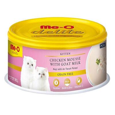 Me-O Delite Kitten Tavuk Püresi ve Keçi Sütlü Tahılsız Yavru Kedi Konservesi 80 Gr