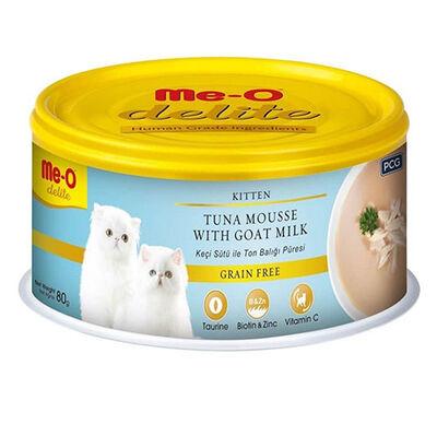 Me-O Delite Kitten Ton Balığı Püresi ve Keçi Sütlü Tahılsız Yavru Kedi Konservesi 80 Gr