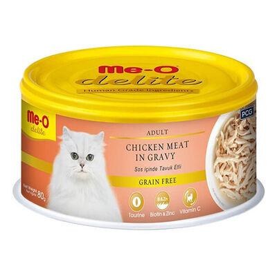 Me-O Delite Tavuk Etli ve Soslu Tahılsız Kedi Konservesi 80 Gr