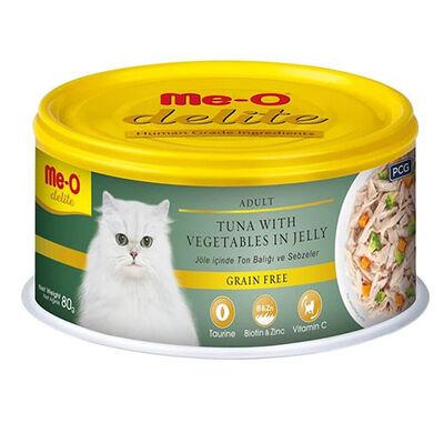 Me-O Delite Ton Balıklı ve Sebzeli Jelly Tahılsız Kedi Konservesi 80 Gr