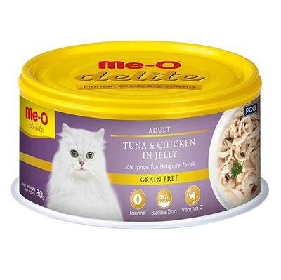Me-O Delite Ton Balıklı ve Tavuk Etli Jelly Tahılsız Kedi Konservesi 80 Gr