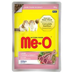 Me-O - Me-O Kitten Kuzu Etli Soslu ve Parça Etli Yaş Yavru Kedi Maması 80 Gr