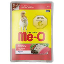 Me-O - Me-O Ton ve Beyaz Balıklı Çubuklu Jöleli Yaş Kedi Maması 80 Gr