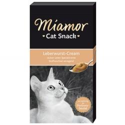 Miamor - Miamor Cream Ciğerli Tamamlayıcı Ek Besin ve Kedi Ödülü 6 x 15 Gr