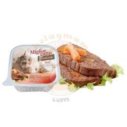 Miglior Gatto - Miglior Gatto Kısırlaştırılmış Biftek, Ciğer ve Havuç Kedi Yaş Maması 100 Gr